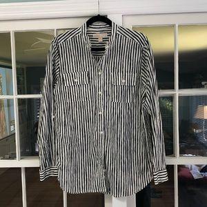 Michael Kors Black & White Striped Blouse